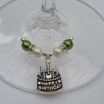 Happy Birthday Cake Wine Glass Charm Elegance Style 48024 P