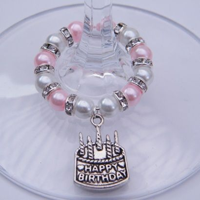 Happy Birthday Cake Wine Glass Charm Full Sparkle Style 9680 P